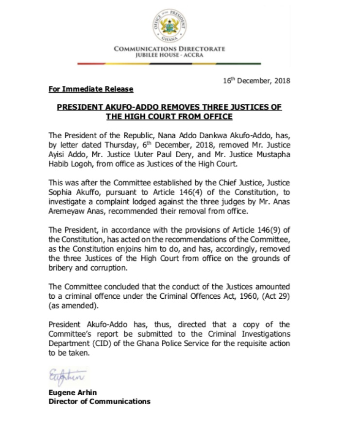 president akufo-addo sacks three justices of high court from office - Court Removal one - President Akufo-Addo Sacks Three Justices Of High Court From Office
