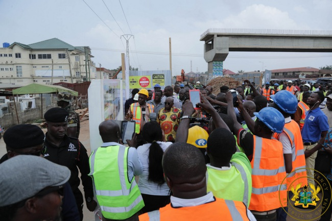 """President Akufo-Addo To Contractors: """"Ensure Timely Completion Of Adenta Footbridges"""" - akufo addo justmoh construction - President Akufo-Addo To Contractors: """"Ensure Timely Completion Of Adenta Footbridges"""""""