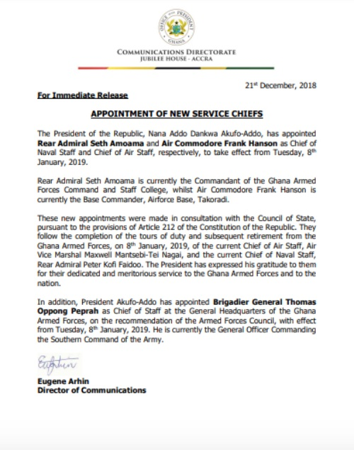 President Akufo-Addo Appoints New Service Chiefs - akufo addo soldier promo - President Akufo-Addo Appoints New Service Chiefs